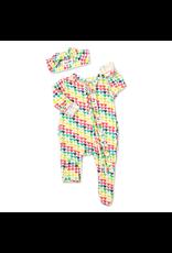 Gigi & Max Gigi & Max- Piper Hearts Newborn Ruffle Footed Zip & Headband Set