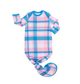 Little Sleepies Little Sleepies- Rosy Plaid Bamboo Knotted Gown NB-3M