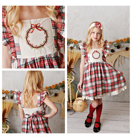 Serendipity Serendipity- Winter Enchantment Pinafore Embroidery Plaid Dress
