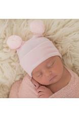 ILYBEAN Ilybean- Striped Pink Double Pom Beanie