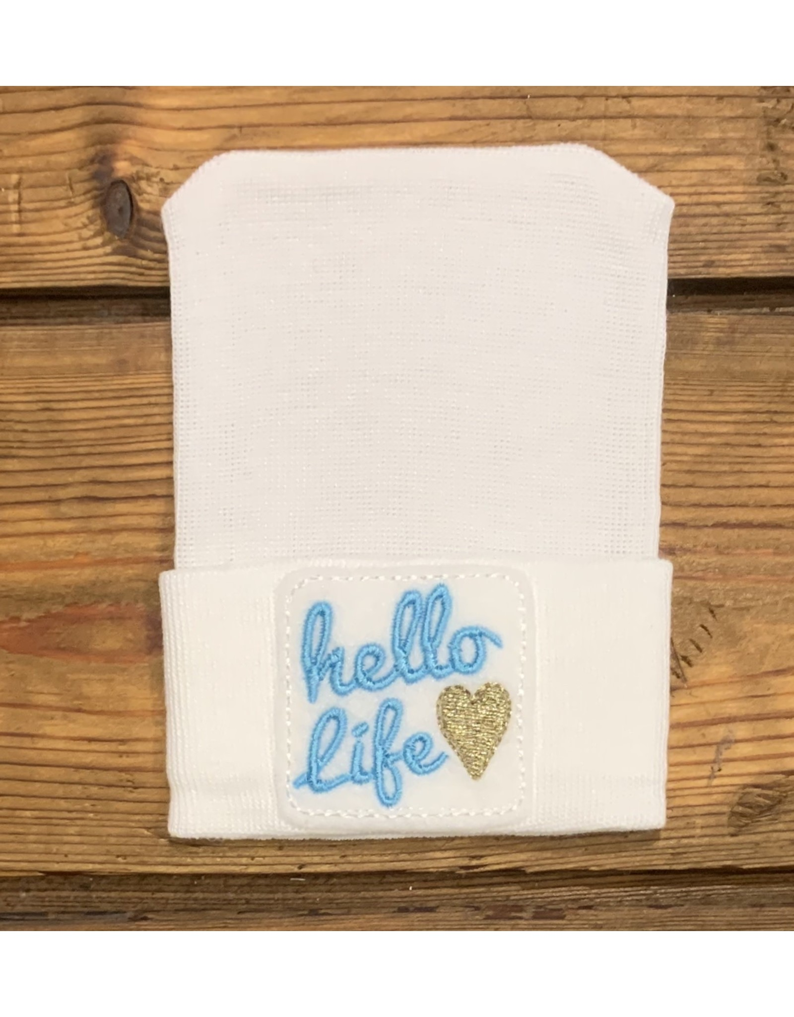 Cradle Cuties - Blue Hello Life Newborn Hat