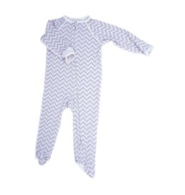 Sweet Bamboo- Pink Chevron Piped Zipper Footie