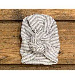 Cradle Cuties - Grey & White Stripe Turban