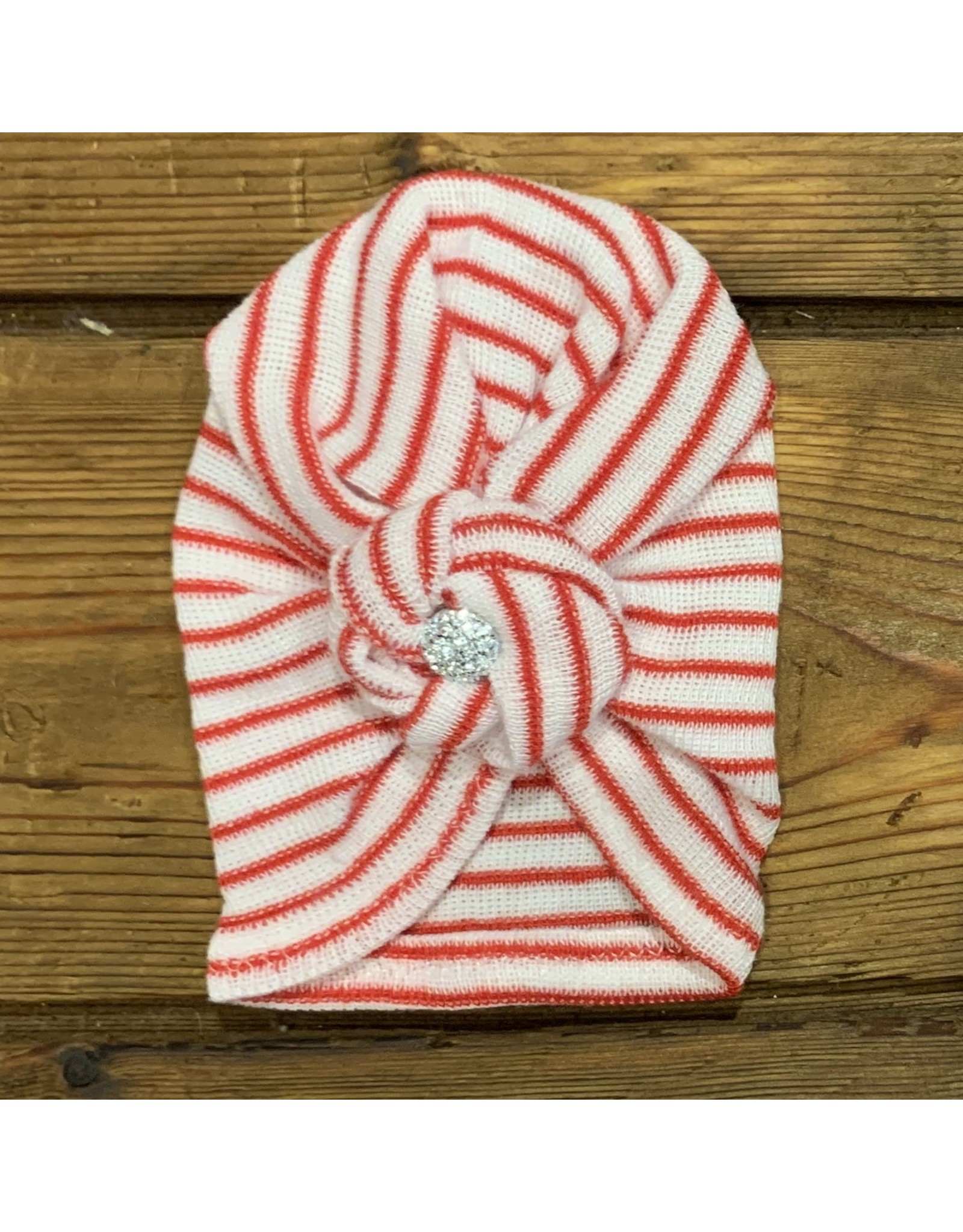 Cradle Cuties - Red & White Striped Turban