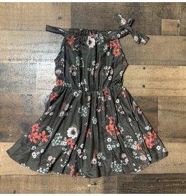 Baileys Blossoms Bailey's Blossoms- Deja Tie-Shoulder Breezy Dress: Deep Forest Floral