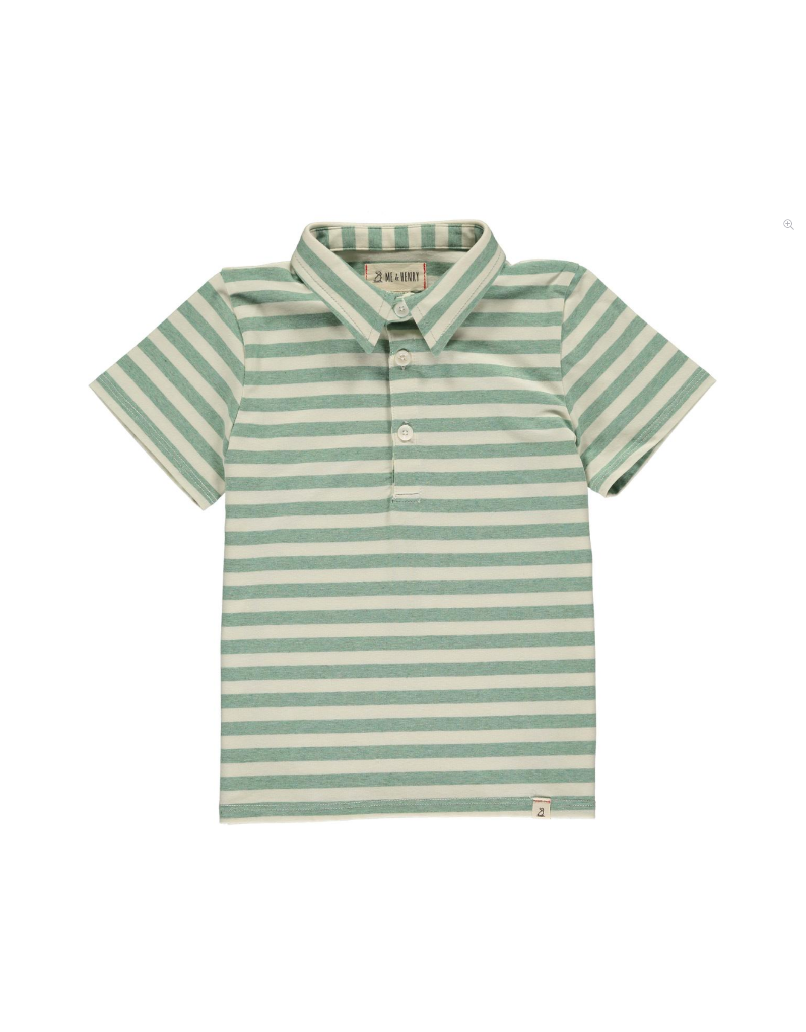 Me & Henry Me & Henry- Green/Cream Stripe Polo