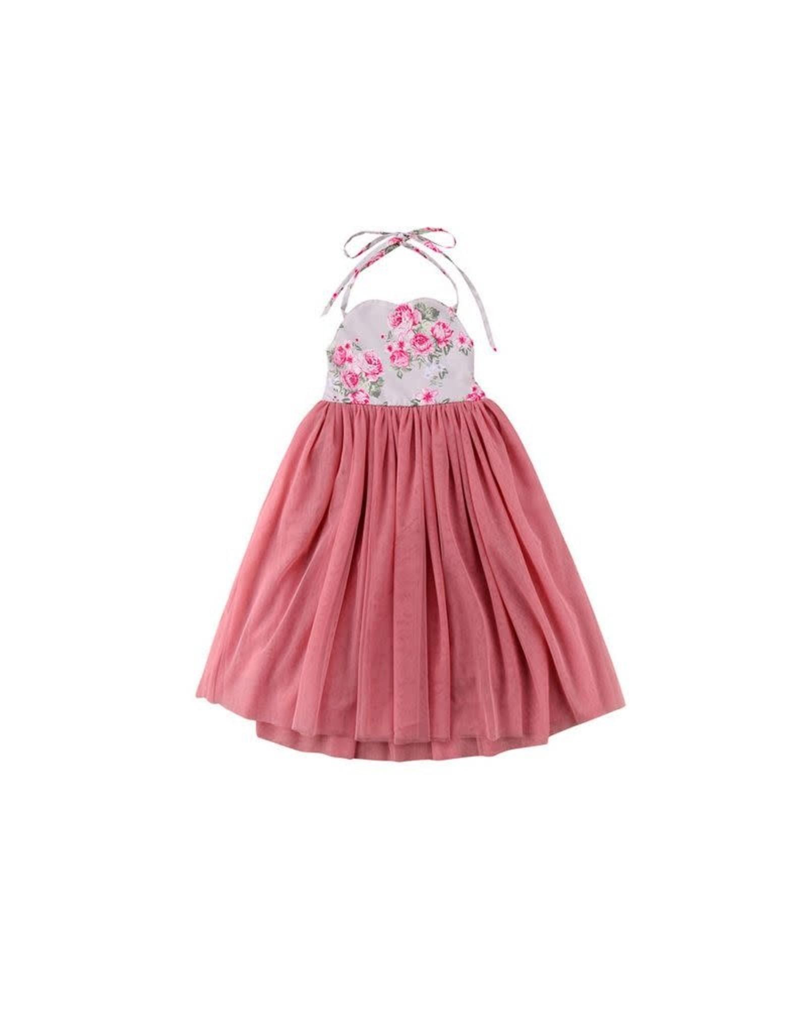 loved by Jade Presley loved by jade presley- Floral Halter Mauve Tulle Dress