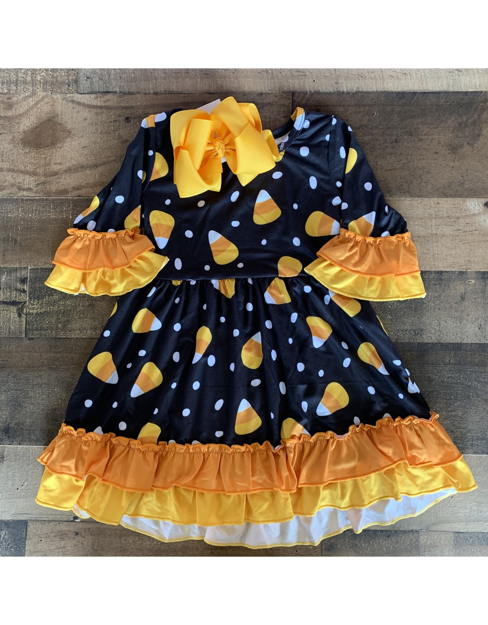Candy Corn Black Ruffle Dress