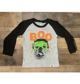 Wes and Willy W & W- Boo Bull Dog L/S Black Raglan