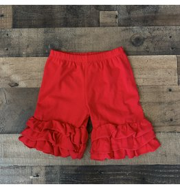 Red Solid Ruffle Shortie
