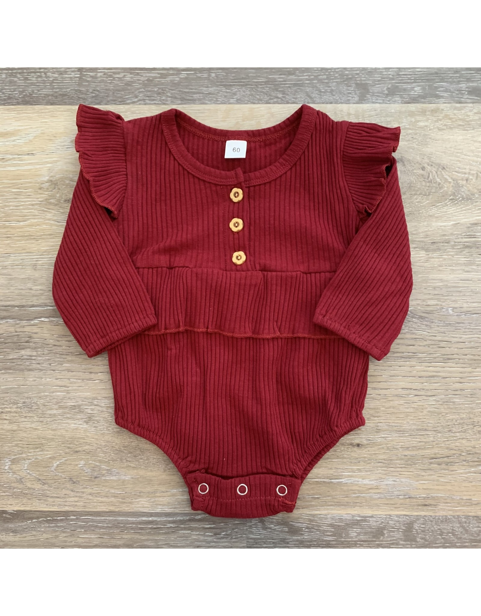 loved by Jade Presley loved by jade presley- Bella Ribbed Button Romper: Cranberry