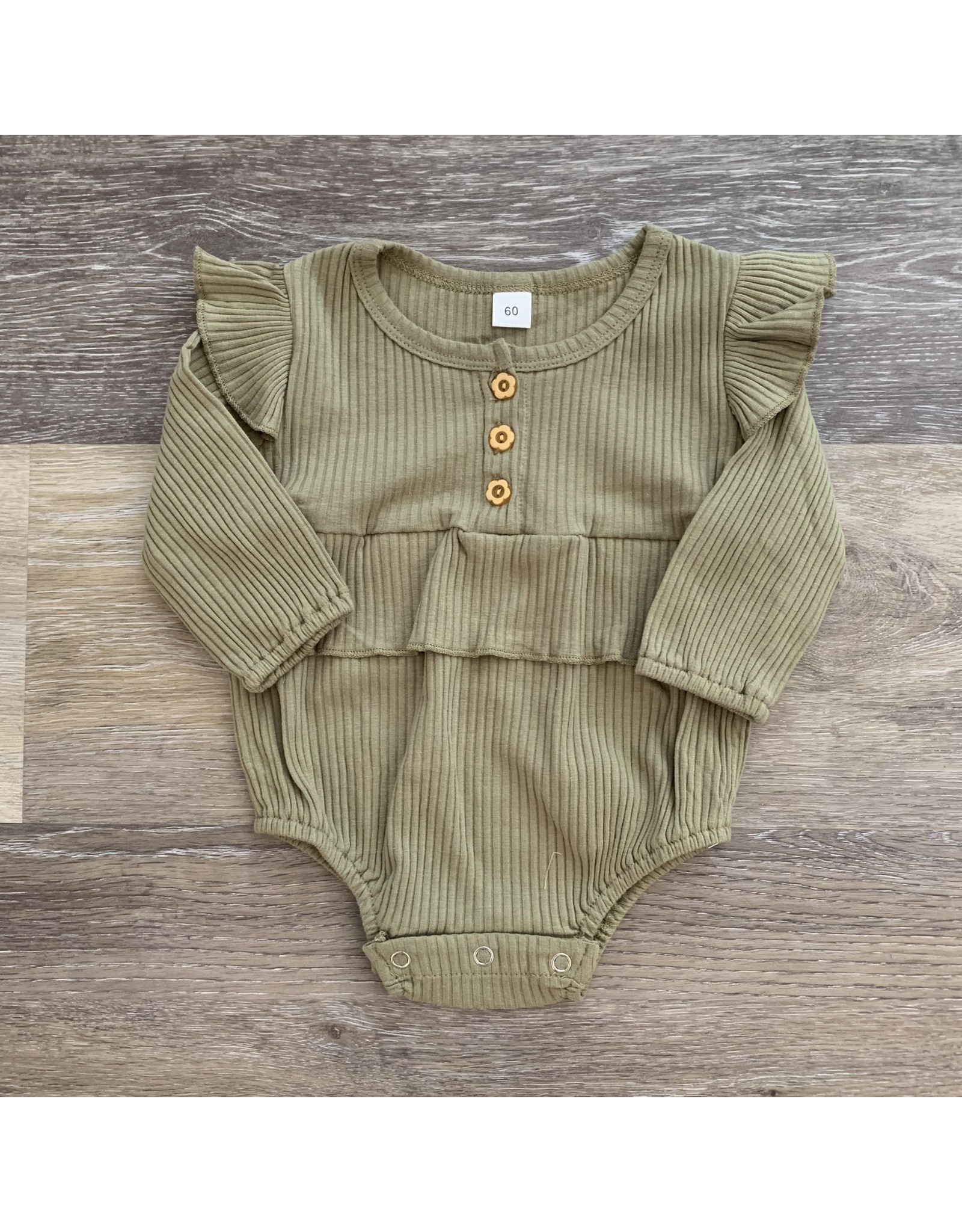 loved by Jade Presley loved by jade presley- Bella Ribbed Button Romper: Olive