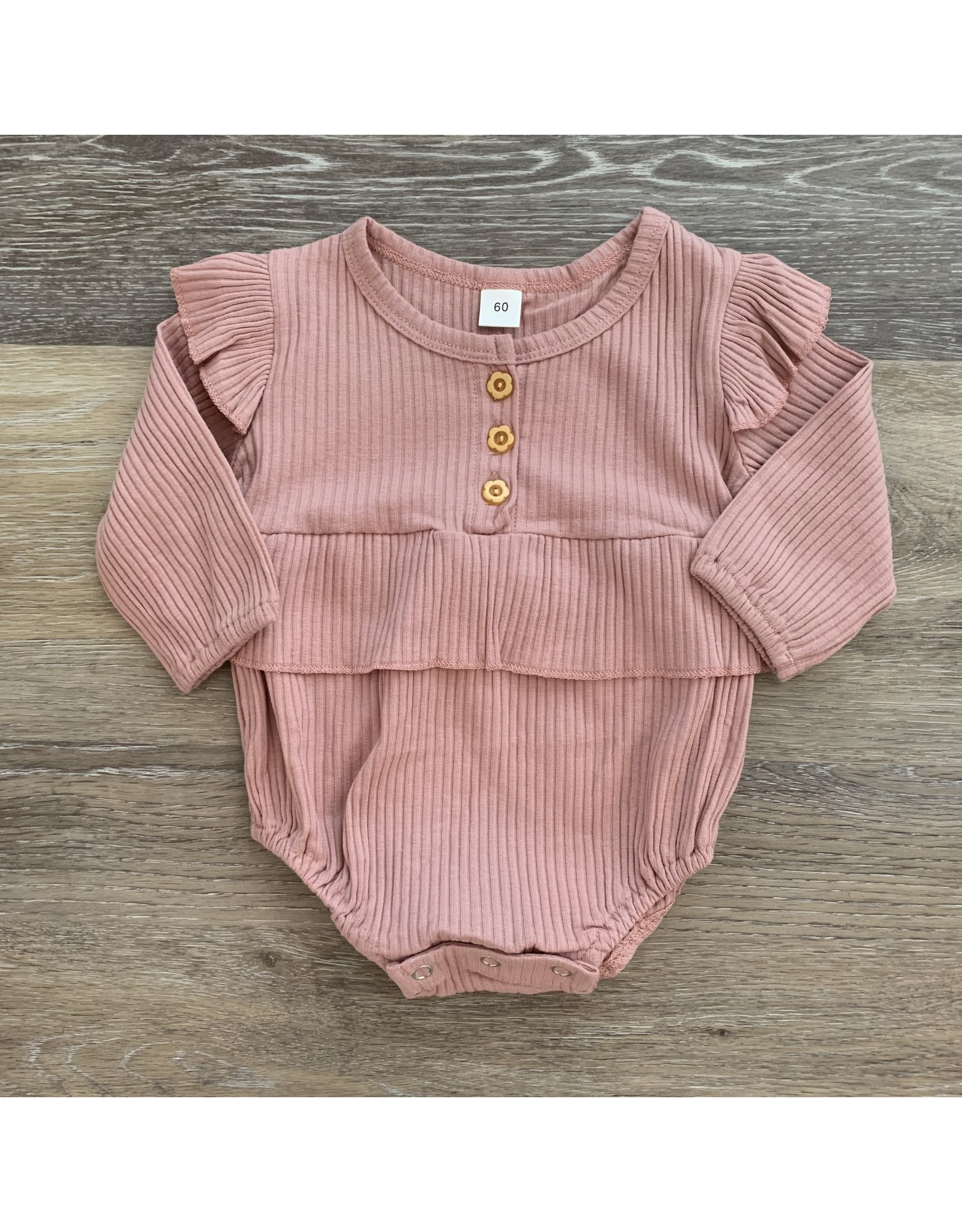 loved by Jade Presley loved by jade presley- Bella Ribbed Button Romper: Pink