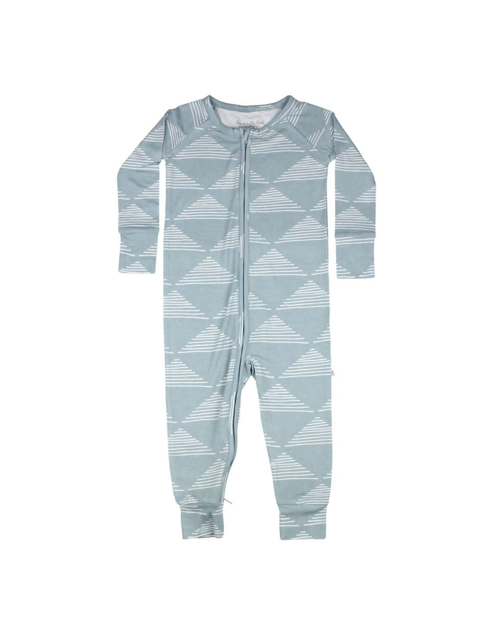 Brave Little Ones Brave Little Ones- Blue Triangles Zip Romper