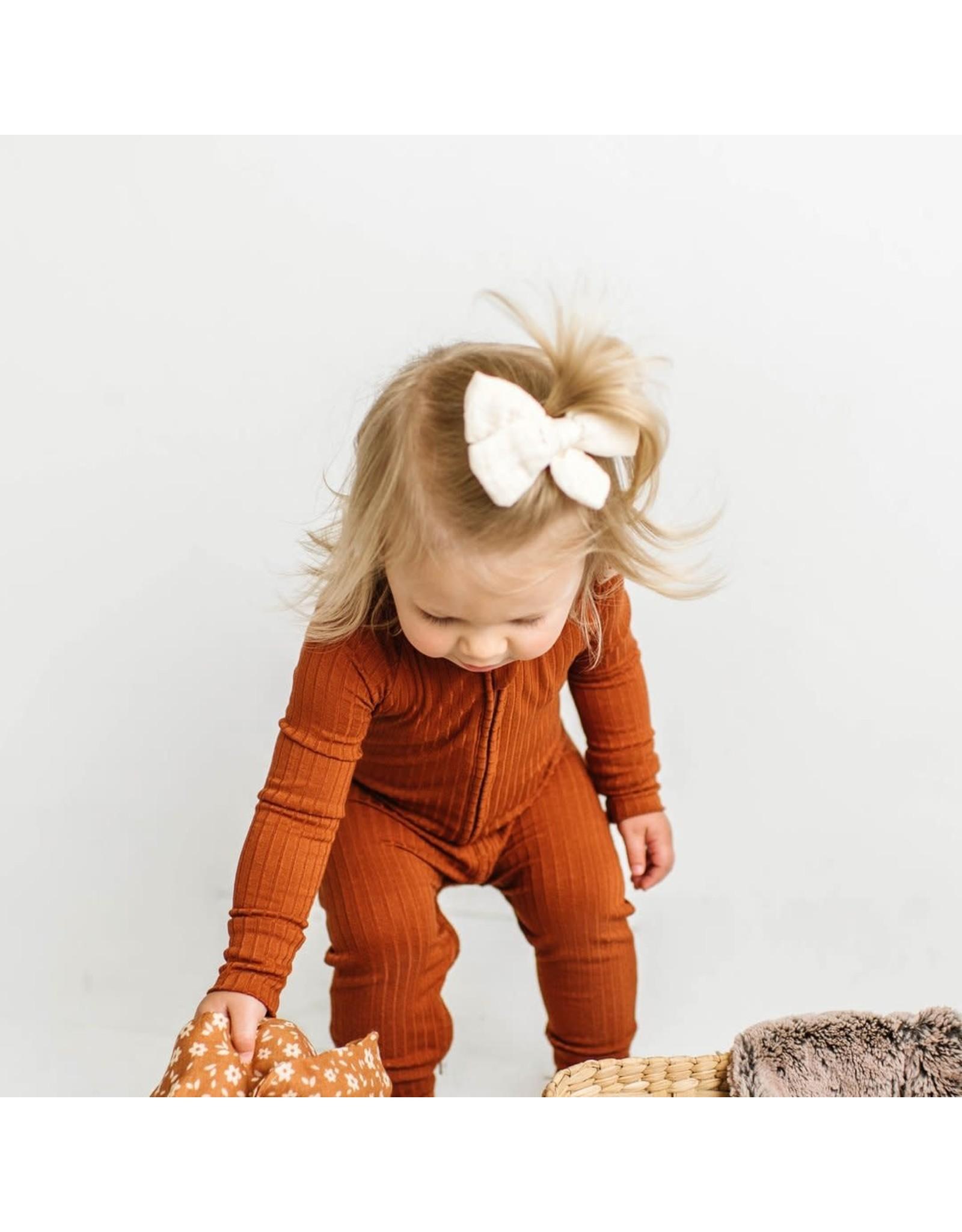 Brave Little Ones Brave Little Ones- Rust Ribbed Zip Romper