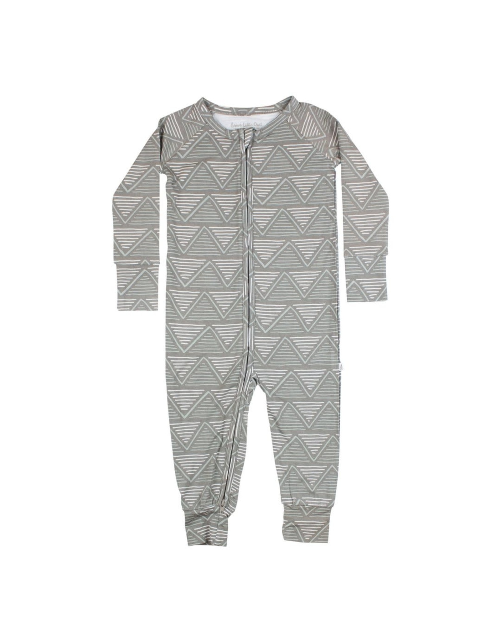 Brave Little Ones Brave Little Ones- Charcoal Triangles Zip Romper