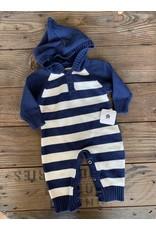 loved by Jade Presley loved by jade presley- Navy Stripe Sweater Hooded Jumpsuit