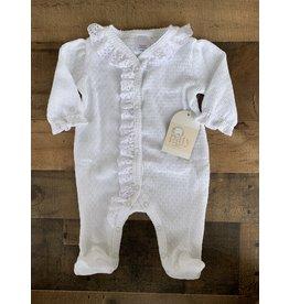 Paty Inc. Paty Inc.- Eyelet & Puff Sleeve Newborn Footie w/White Trim
