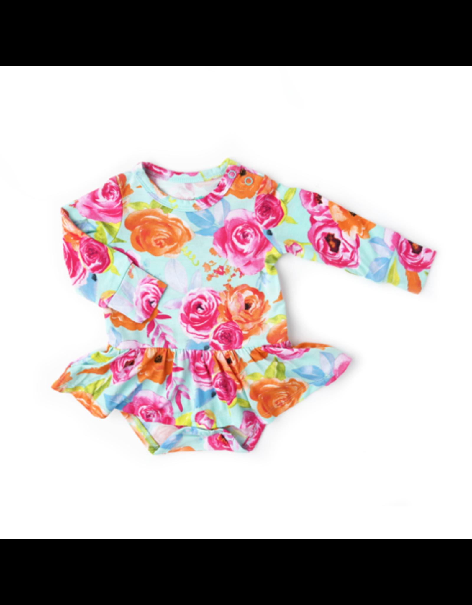 Gigi & Max Gigi & Max- Tessa Teal Floral L/S Tutu Skirted Bodysuit
