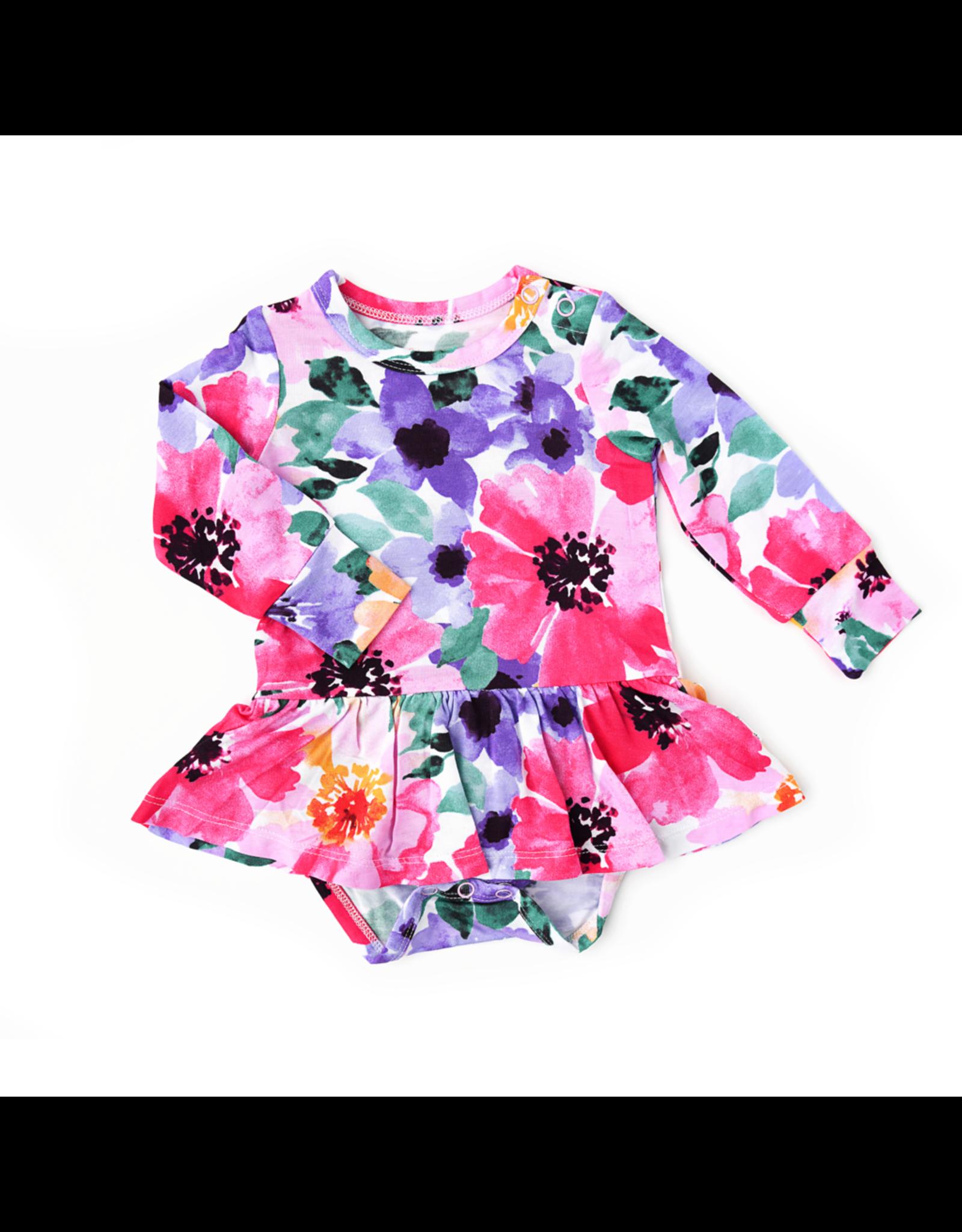 Gigi & Max Gigi & Max- Emilia Floral L/S Tutu Skirted Bodysuit