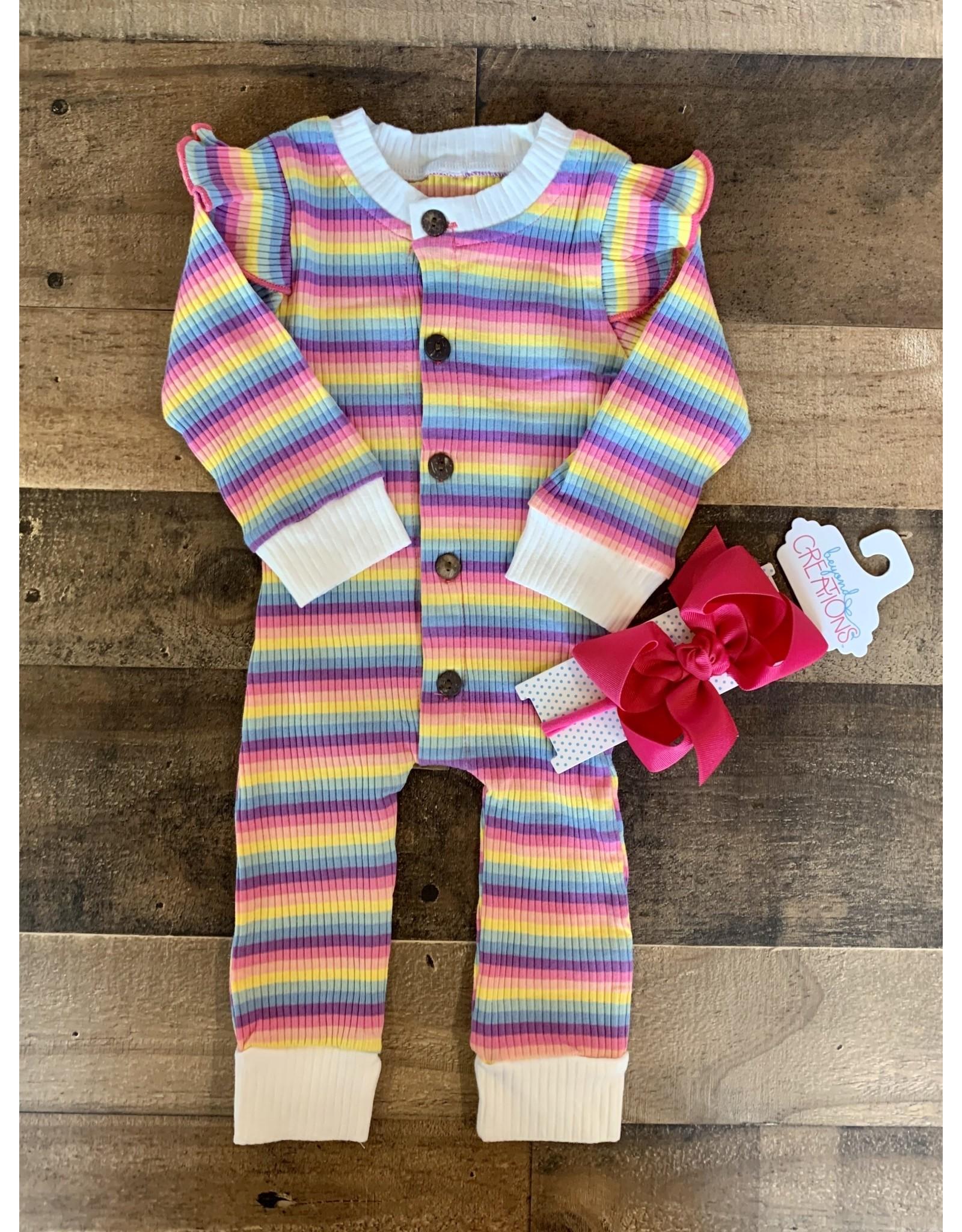 loved by Jade Presley loved by jade presley- Bright Stripe Rainbow Button Coverall