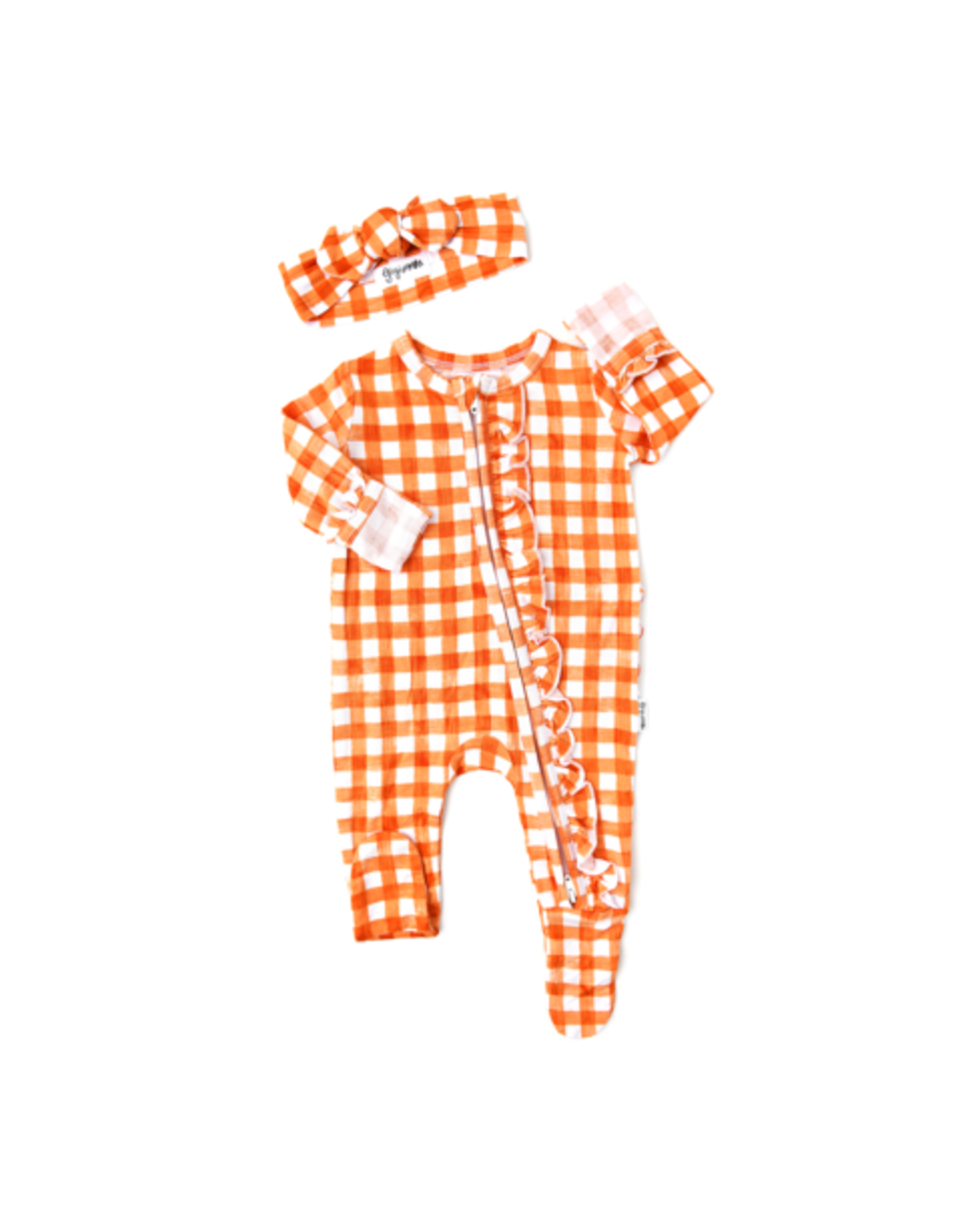 Gigi & Max Gigi & Max - Riley Orange Gingham Ruffle Newborn Footed Zip & Heaband Set