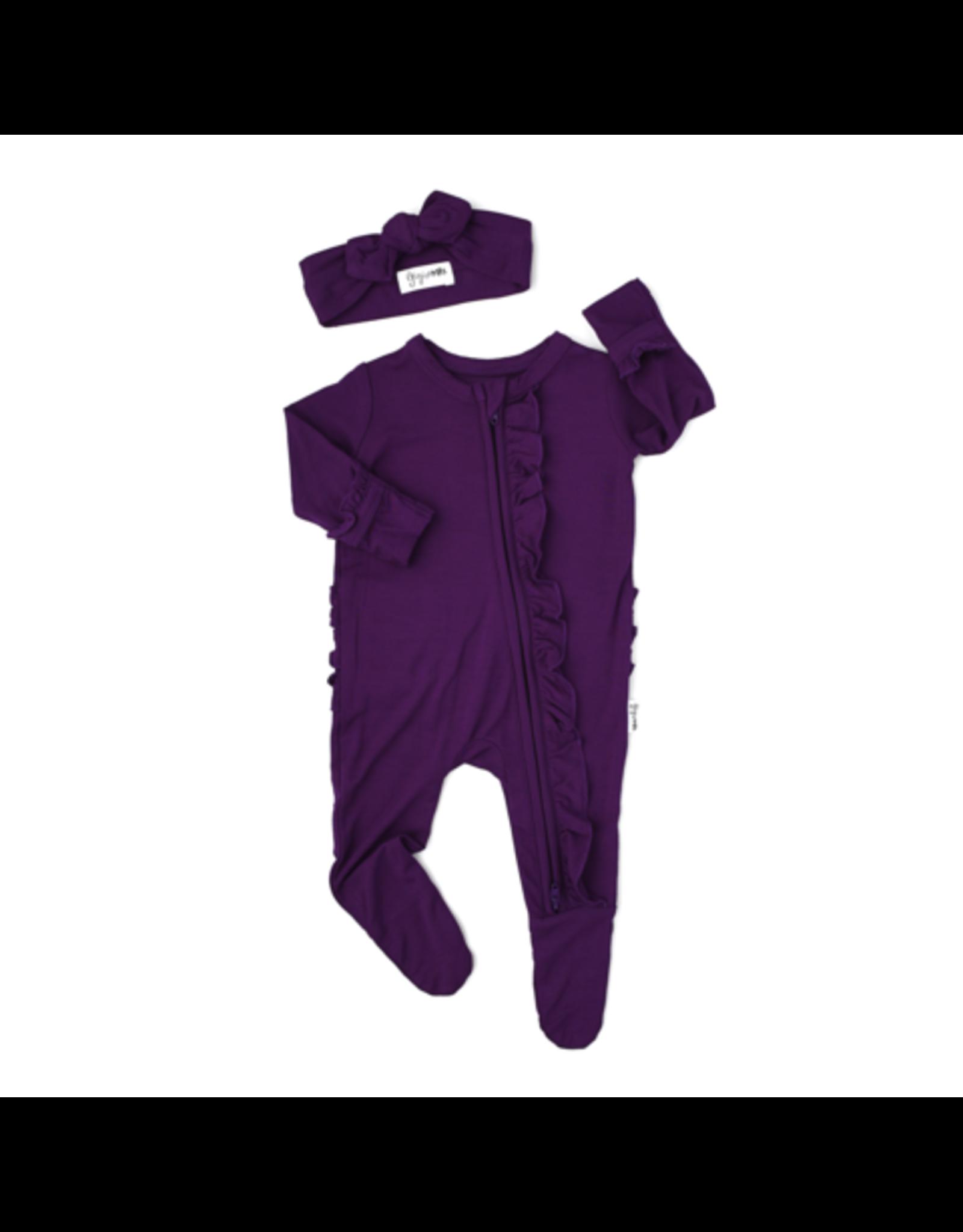 Gigi & Max Gigi & Max- Audrey Plum Newborn Ruffle Zipper Footie & Headband Set