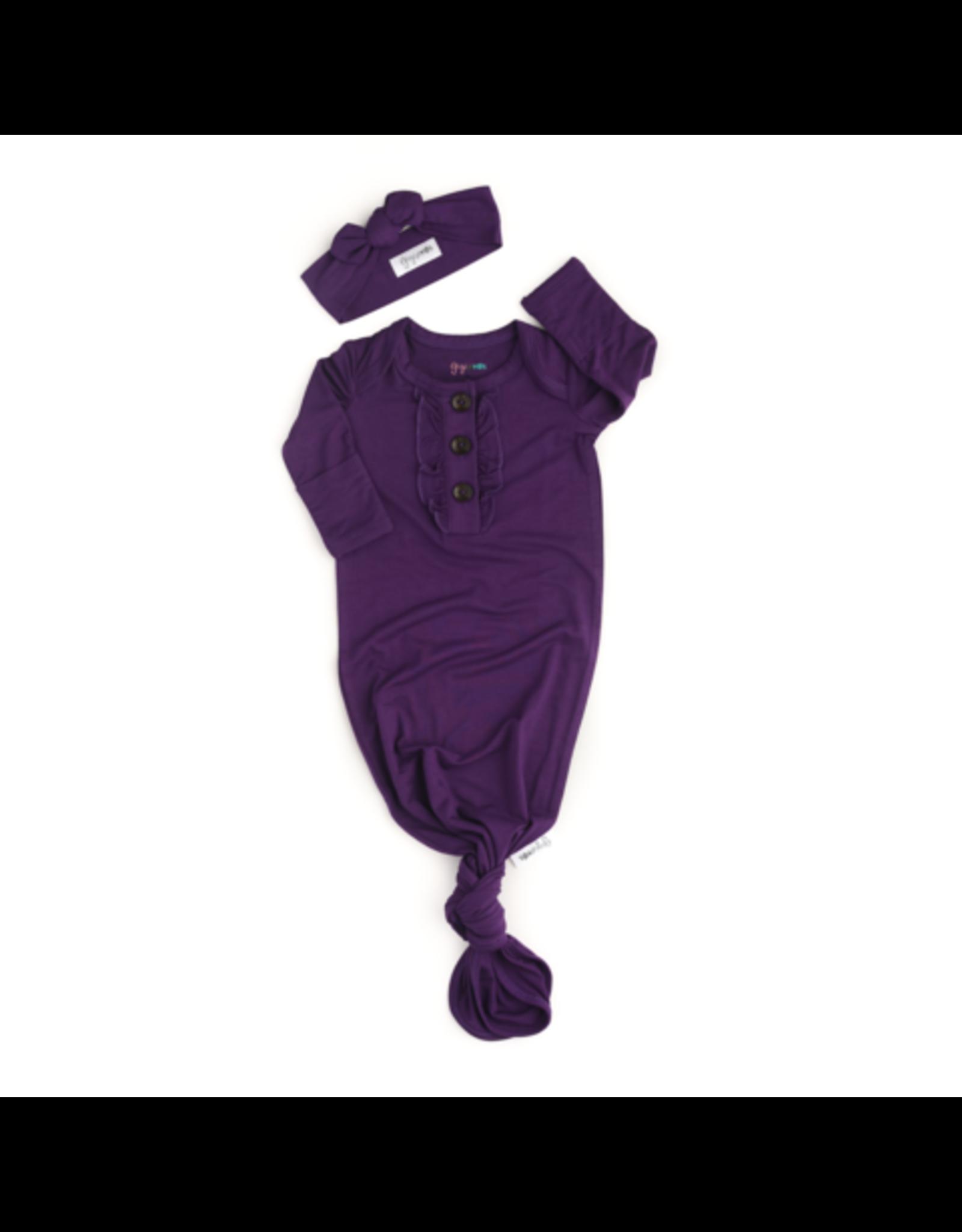 Gigi & Max Gigi & Max- Audrey Plum Ruffle Button Gown & Headband Set