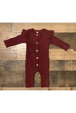 loved by Jade Presley loved by jade presley- Cameran Flutter Sleeve Ribbed Button Jumpsuit: Burgundy