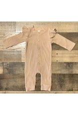 loved by Jade Presley loved by jade presley- Cameran Flutter Sleeve Ribbed Button Jumpsuit: Tan
