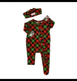 Gigi & Max Gigi & Max- Paxton Christmas Plaid Newborn Ruffle Zipper Footie & Headband Set