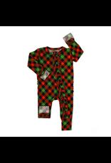 Gigi & Max Gigi & Max- Paxton Christmas Plaid Ruffle Zipper Footie