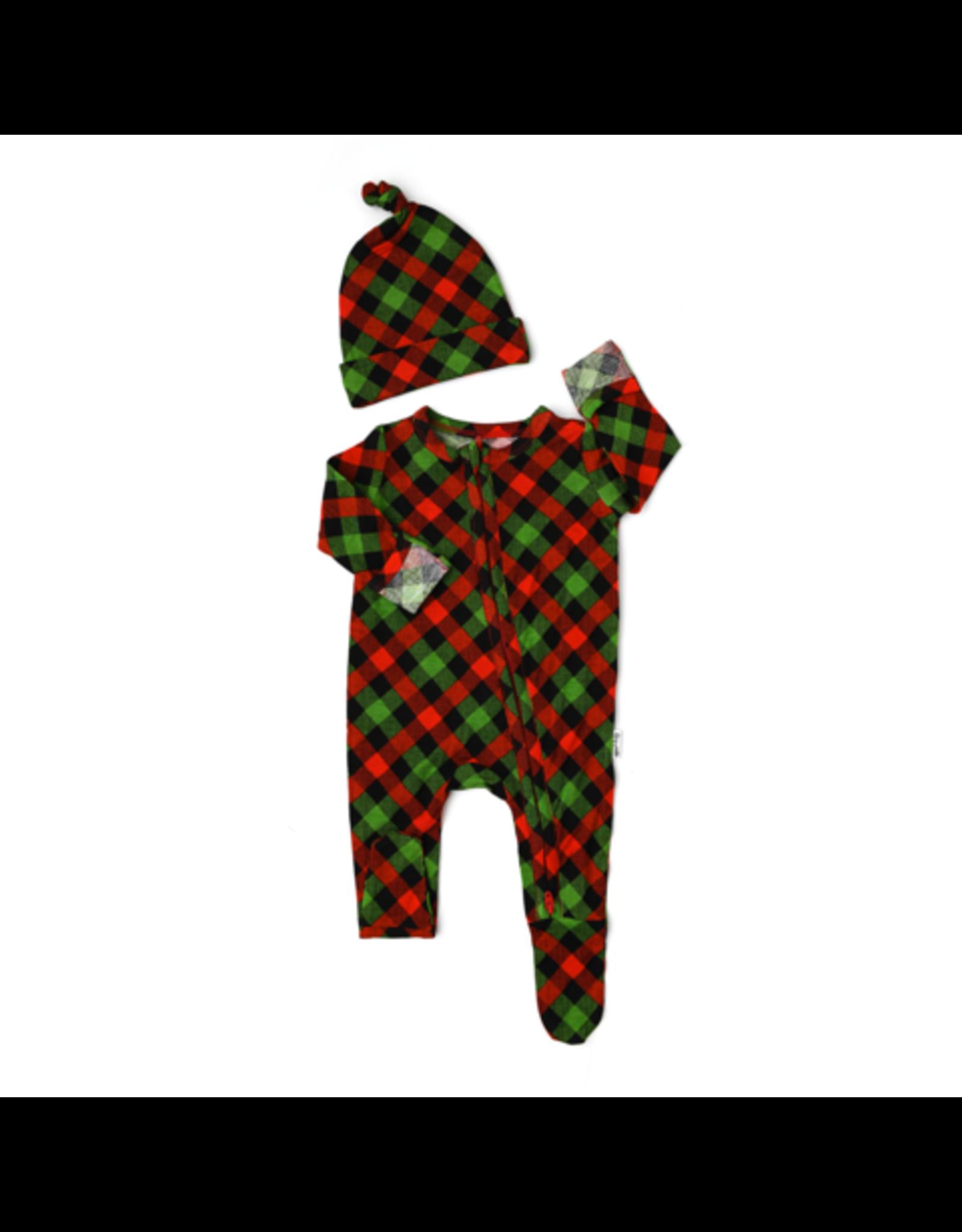 Gigi & Max Gigi & Max- Paxton Christmas Plaid Newborn Zipper Footie & Hat Set