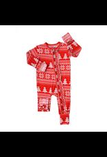 Gigi & Max Gigi & Max- Christmas Sweater Ruffle Zipper Footie
