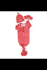 Gigi & Max Gigi & Max- Frost Red Gingham Gown Headband & Hat Set