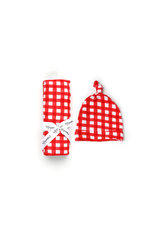 Gigi & Max Gigi & Max- Frost Red Gingham Swaddle & Knot Hat Set