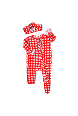 Gigi & Max Gigi & Max- Frost Red Gingham Ruffle Newborn Zipper Footie & Headband Set