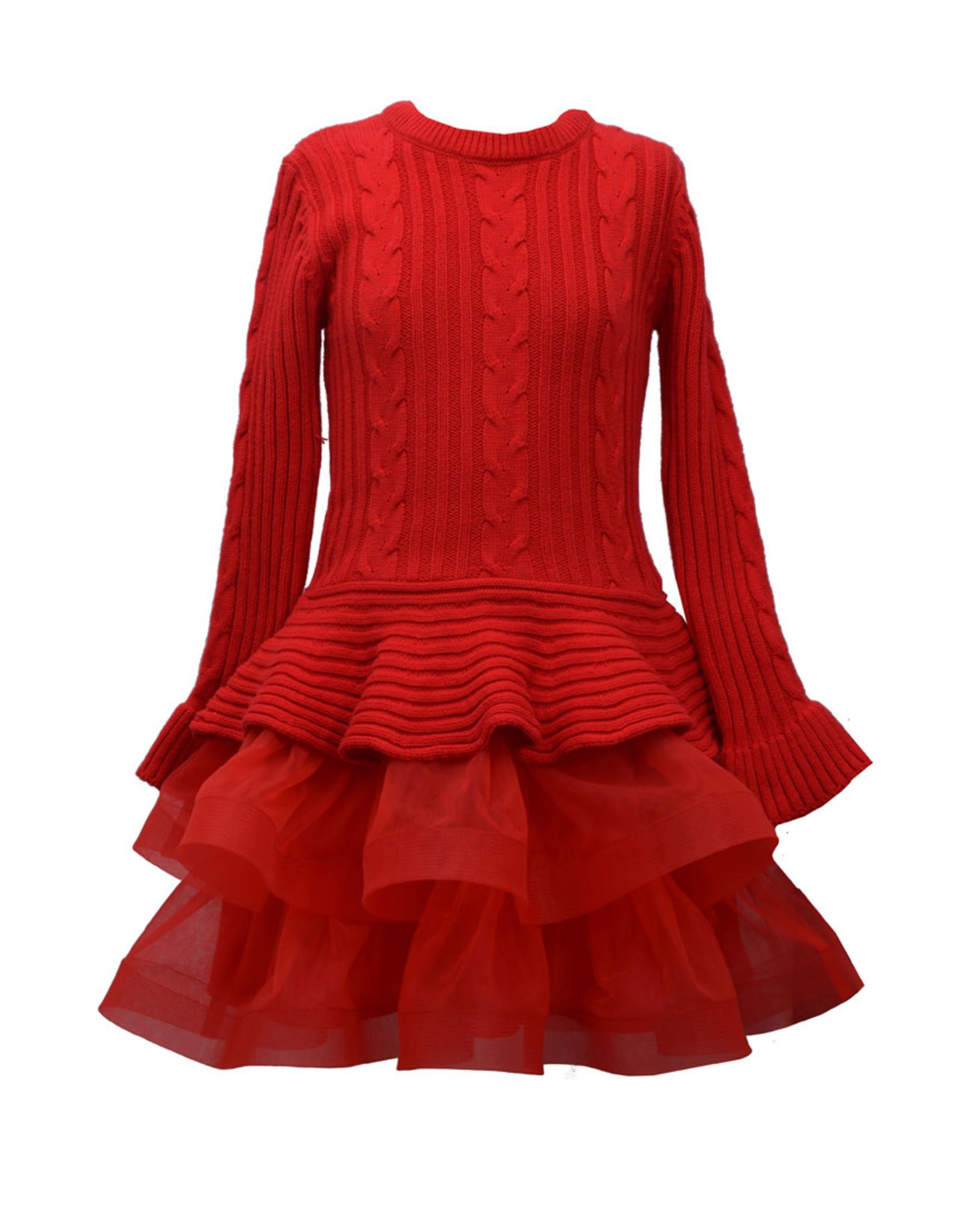 Bonnie  Jean Bonnie Jean- Red Cable Knit Skirt Sweater Dress
