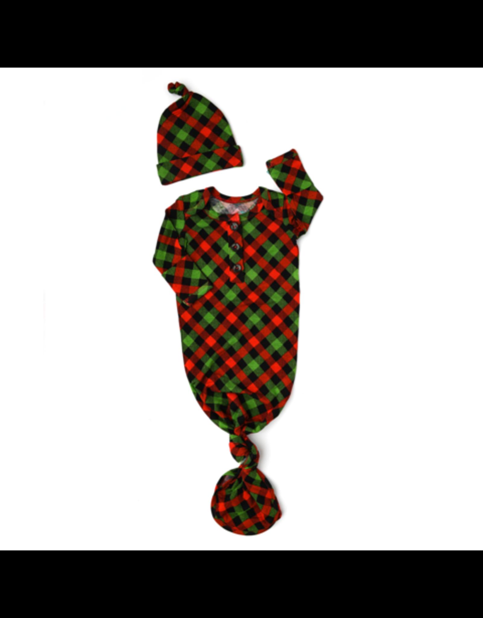 Gigi & Max- Paxton Christmas Plaid Gown & Hat Set