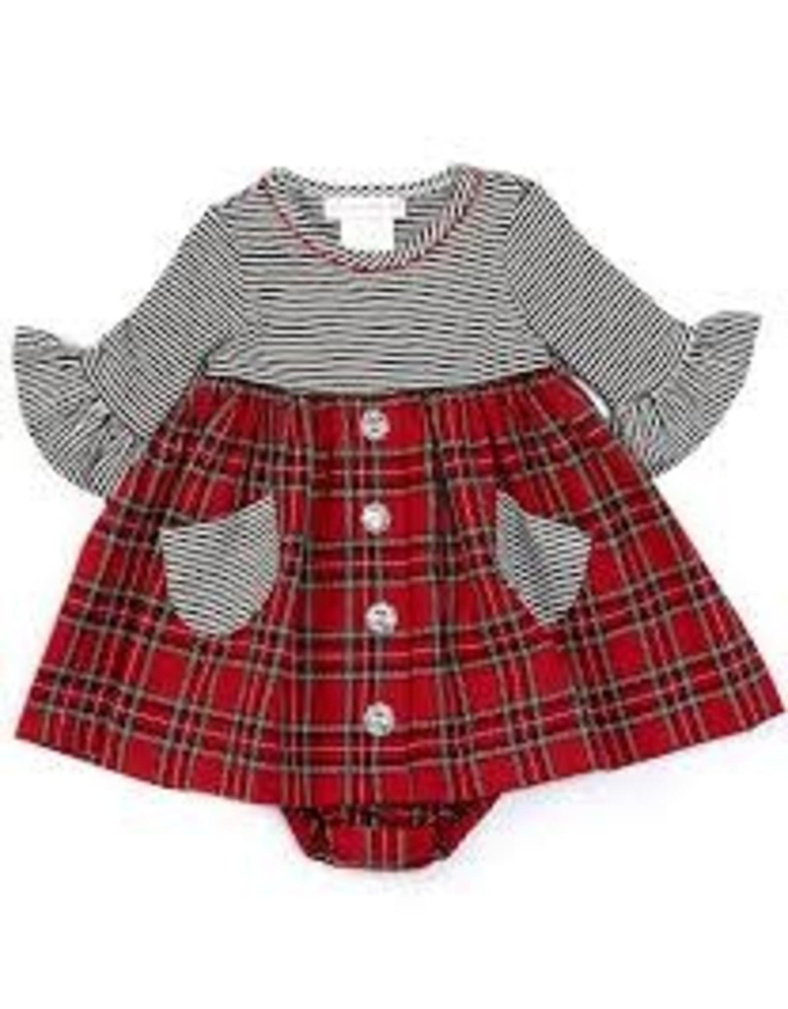 Bonnie  Jean Bonnie Baby- Striped Plaid Button Dress