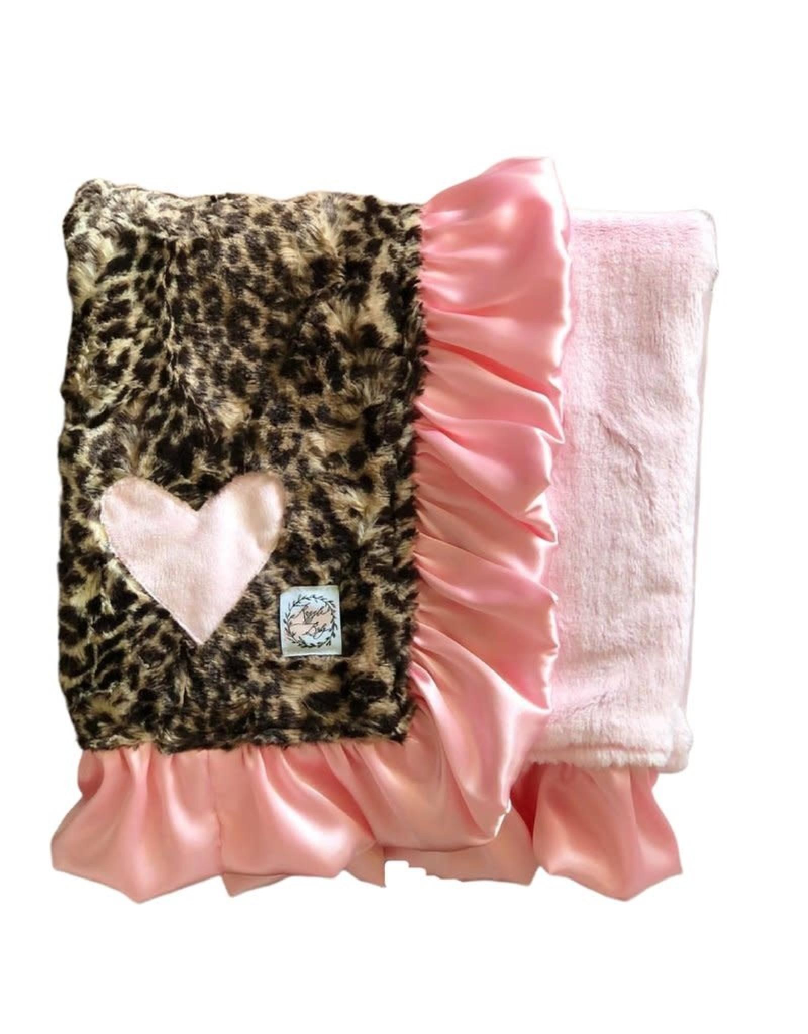 Razzle Baby Razzle Baby- Double Plush Double Ruffle Leopard w/Pink Heart Blanket