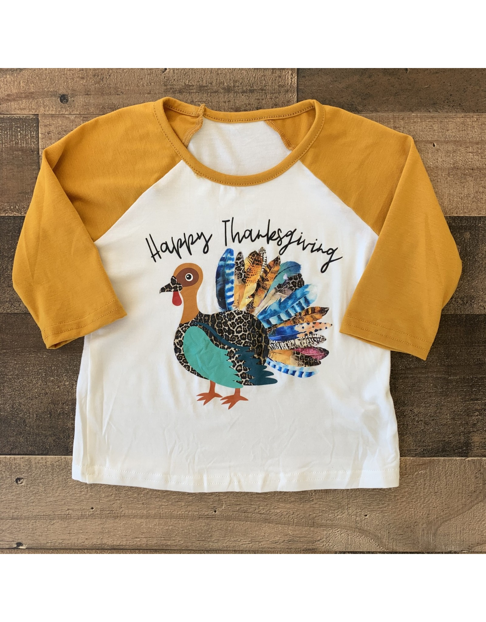 Happy Thanksgiving Mustard Sleeve Turkey Shirt