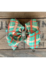 "Green, Gold & Red Plaid 7.5"" Rhinestone Hairbow"