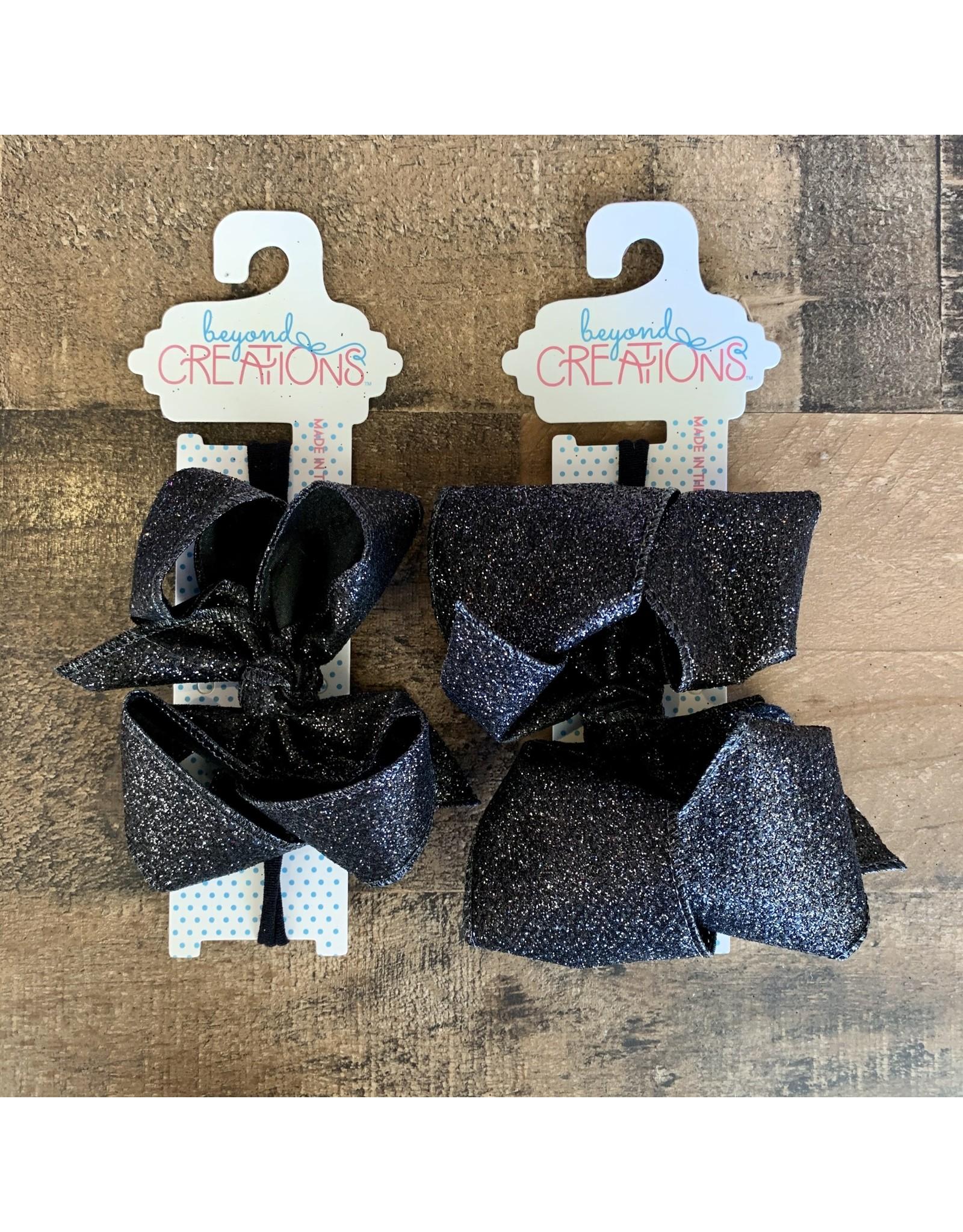 Beyond Creations Beyond Creations - Black Glitter Metallic Bow on 1/4 HB