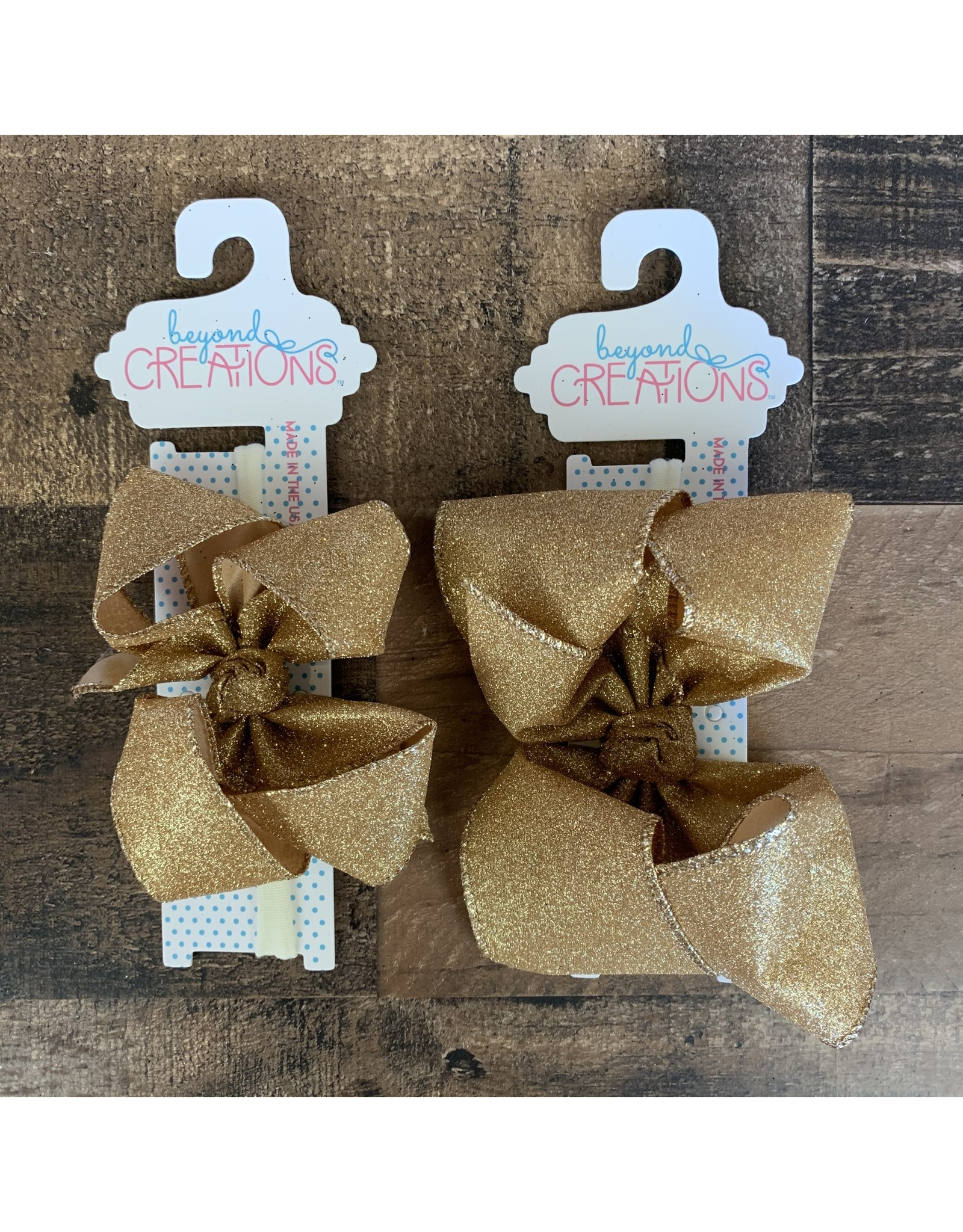 Beyond Creations Beyond Creations - Gold Glitter Metallic Bow on 1/4 HB
