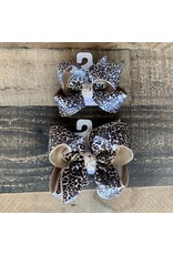 Beyond Creations Beyond Creations-  Oatmeal Multi Leopard Layered Knot Bow