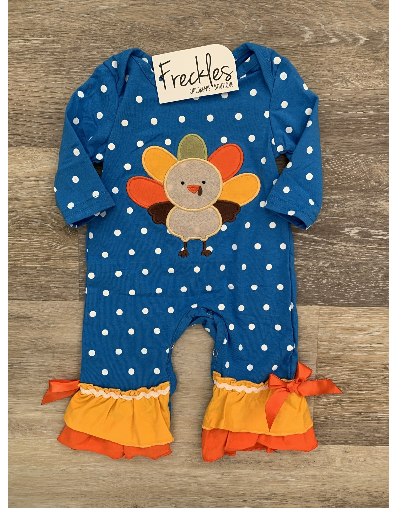 Blue Polka Turkey Applique Romper