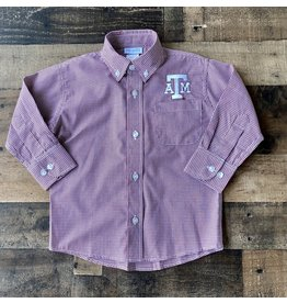 VLF- Texas A&M Emb Maroon Gingham Button Down Shirt