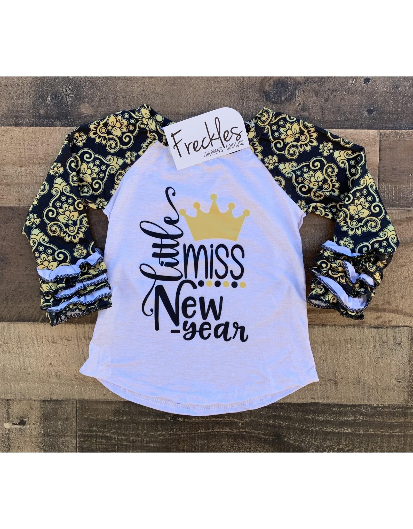 Little Miss New Year Ruffle Raglan
