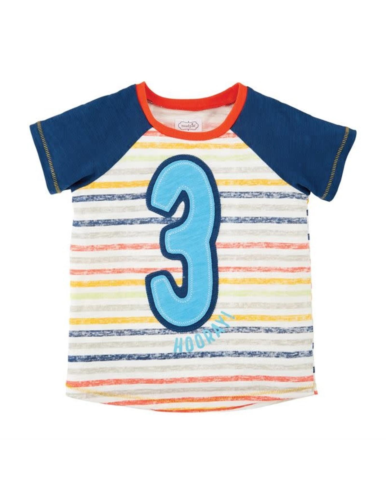 Mudpie Mud Pie- Boy 3 Birthday Shirt 3T
